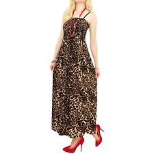 abito vestito donna lungo maxi maculato animalier ruota taglia unica one size