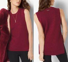 Michael Kors MH66N602A2 Cinnabar Red Ribbed Metallic Cotton-blend Lurex Top  $79