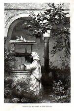 Stampa antica CERTOSA di PAVIA monaco alla fontana 1880 Old print Engraving