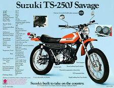 1972 SUZUKI TS-250J SAVAGE SALES SPECS AD/ BROCHURE