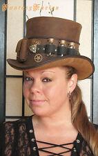 Steampunk Hat Futurist Traveller Leather HIGH Top Hat Pockets Glass Vials