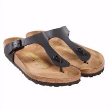 New Women's Birkenstock Gizeh Birko-Flor One-strap Womens Sandals Black FS