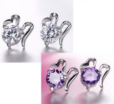 Fashion Silver Amethyst Cubic zirconia Weather Cloud stud Earrings K37