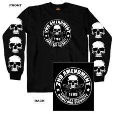 2nd Amendment T-Shirt LONG SLEEVE Homeland Security Skull Guns Second 1789 L/S