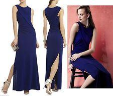 $338 BCBG Maxazria Simone Orient Blue Drape Cut Out Jersey Dress Gown M