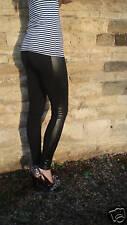 LONG Length WET LOOK INSERT Viscose Leggings BLACK SIZES 6 - 18  Tall