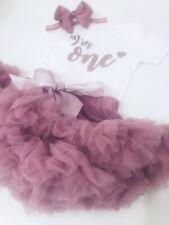 Luxury Girls 1st First Birthday Tutu Skirt Outfit Rose Gold Cake Smash Set One