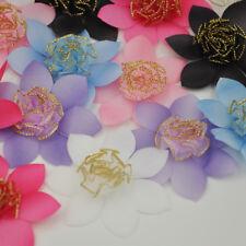 40PCS Mix Organza Ribbon Rose Flowers Bows Padded Felt Appliques A259