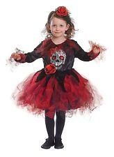 Kids Skull Tutu Red & Black Halloween Fancy Dress Costume Outfit Age 6 - 8
