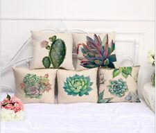 Retro Cactus Succulent Plants Cotton Linen Pillow Case Throw Cushion Cover Decor