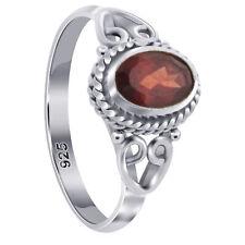 925 Sterling Silver Oval Shape Garnet Gemstone Bali Women's Ring