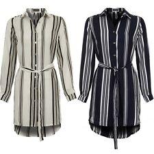 Womens Long Turn Up Sleeve Tie Waist Stripe Chiffon Long Shirt Collar Blouse