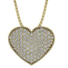 Heart Pendant Necklace VS1 E 0.65 Carat Natural Diamond 14K Yellow Gold Pave Set
