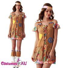 Ladies 1960s Retro Groovy Costume Hippie Hippy Lady 60s 70s Disco Fancy Dress