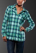 Women's Girls Oakley My Guy L/S Flannel Plaid Shirt Green Size XS