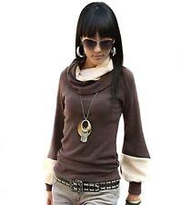 Damen Longshirt Pullover Bluse Shirt Tunika langarm Baumwolle Wasserfall Kragen
