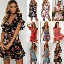 Damen Rüschen V-Ausschnitt Boho Blumen Minikleid Sommerkleid Swing Wickelkleid