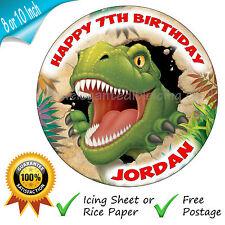 JURASSIC DINOSAUR BIRTHDAY CAKE TOPPER PERSONALISED ROUND PRINTED DECORATION