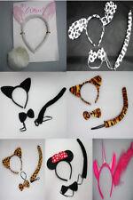 Animal Fancy Dress Instant Kits Ears Headband Tail Bow Adults & Kids
