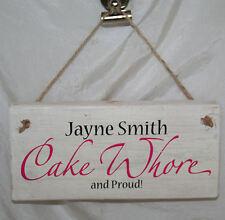 Kitchen Door Sign Plaque Personalised Name Cake Whore Baking Cook Wood Bake Fun