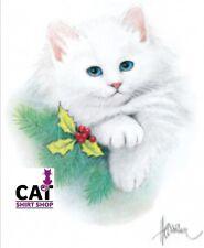 Cat & Holly Shirt, X-mas ~ Christmas Kitten on a T-Shirt, Fluffy Kitty, Sm - 5X