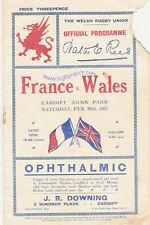 Le Pays de Galles V FRANCE 1921 rugby programme 26 fév à Cardiff