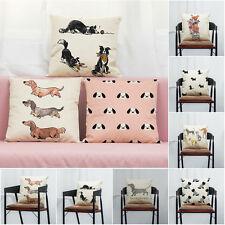 Retro Cute Dog Cotton Pillow Case Sofa Waist Throw Cushion Cover Home Car Decor