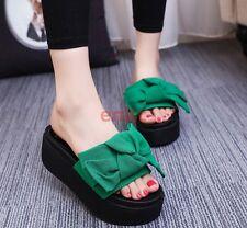 Korean Open Toe Platform Wedge High Heel Bowknot Womens Slipper Beach Shoes @