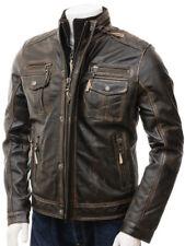 Mens Biker Motorcycle Vintage Distressed Brown Leather Jacket Retro Racer