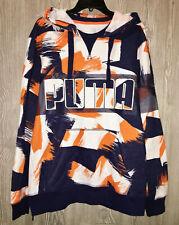 PUMA Progressive Pullover Hoodie II Navy Blue Orange White NEW Mens L XL 569992