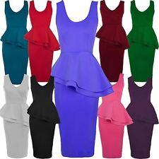 New Womens Plus Size Side Slant Double Frill Long Bodycon Peplum Midi Dress 8-26