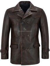 Men's Real Cowhide Leather Jacket Black Bronze Vintage WW2 Inspired Coat Dr Who