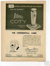 Coty Meteor Perfume Ad 1954 Original Vintage Ad