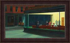 "Edward Hopper Nighthawks Framed Canvas Giclee Print 45""x27"" (V08-08)"