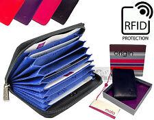 Mala calidad de cuero real seguro de RFID tarjeta de Crédito Monedero Billetera Estuche De Ventilador Zip 10