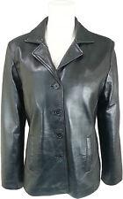 UNICORN Womens Classic Suit Blazer Coat - Geniune Real Leather Jacket Black #HK