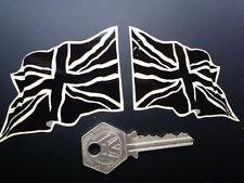 British 'Union Jack' Flag  BLACK & CREAM custom Wavy 4 in stickers Britain UK GB