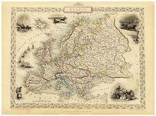 Old Vintage Map of Europe richly illustrated Tallis 1851