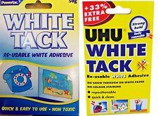 UHU WHITE TAC TACK RE-USABLE WHITE ADHESIVE PUTTY MULTI PURPOSE NON-TOXIC HANDY