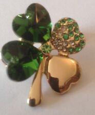 Cristal Verde Trébol de Cuatro Hojas Trébol Broche 4 Oro Broche Eire Irlandés Irlanda