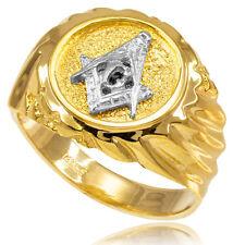10k Solid Yellow Gold Masonic Men's Ring