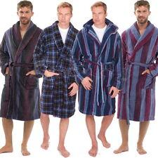 Mens Coral Fleece Super Soft Check / Stripe Dressing Gown Hooded Robe M L XL 2XL