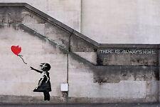 A3/A4 SIZE - Banksy Balloon Girl LOVE  HEART  WALL DECOR / GIFT ART POSTER # 4