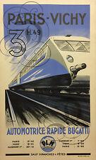 REPRO DECO AFFICHE PARIS VICHY AUTOMOTRICE BUGATTI  1935 PAPIER 310 OU 190 GRS