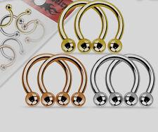 3 Pairs In Pack Horseshoe Circular Rings Steel, Gold, Rose Gold,   16g 14g #VH2