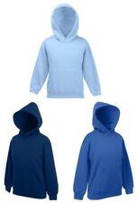 Fruit Of The Loom Childs Kids Girls Boys Plain BLUE Hooded Sweat Hoodie