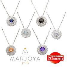 Collana punto luce in argento 925 con pavè di zirconi bianchi,neri,viola,azzurri