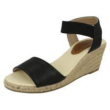 SALE Ladies Spot On Black Elasticated Ankle  Strap Wede Sandals F2251