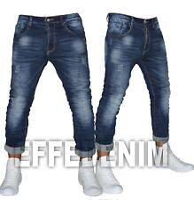 Jeans uomo Denim slim pantaloni 5 Tasche elasticizzati risvolto Effe Denim 502