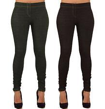 Womens Ladies Denim Button Detail Jeggings Leggings Skinny Jeans Size 8 10 12 14